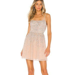 NEW NWT X by NBD Katy Mini Dress in Silver & Nude
